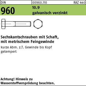 10.9 galv. DIN 960 Sechskantschraube mit Schaft Feingewinde M 14 x 100 x 1,5