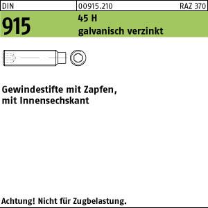 100 Inbus Gewindestifte DIN 915 45H verzinkt M12x40