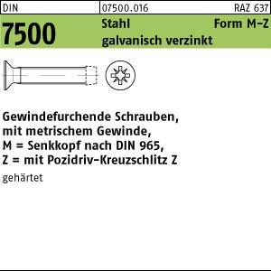 1000 Gewindefurchende Schrauben DIN 7500 St. geh�rtet MM2,5x8 -Z verzinkt A75000160025008