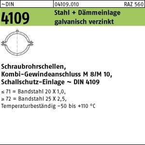 50 Schraubrohrschellen DIN 4109 Zn 48 - 53 / M8 + M10 Rohrschelle mit Schalld�mpfung A41090100480053