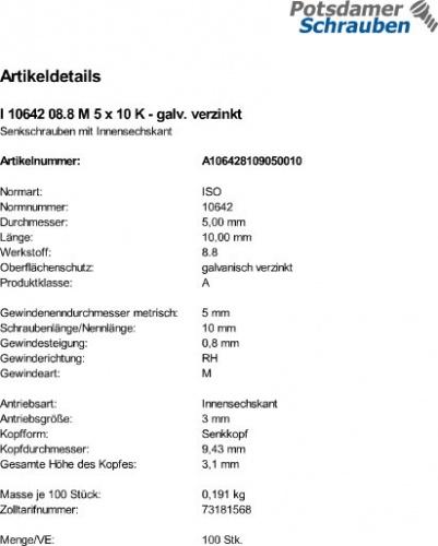 500 Inbus Senkkopfschrauben ISO 10642 8.8 verzinkt M3x5