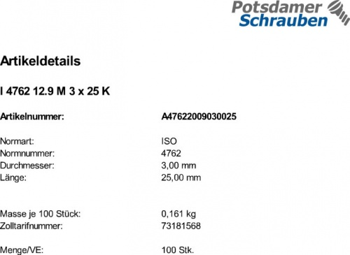 100 Edelstahl V2A Inbus Zylinderkopfschrauben ISO 4762 A2 M3x25