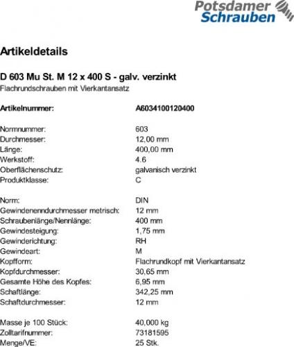 25 St DIN 603 Mutter 6x30 mm NEU Schlossschrauben//Flachrundschrauben verz