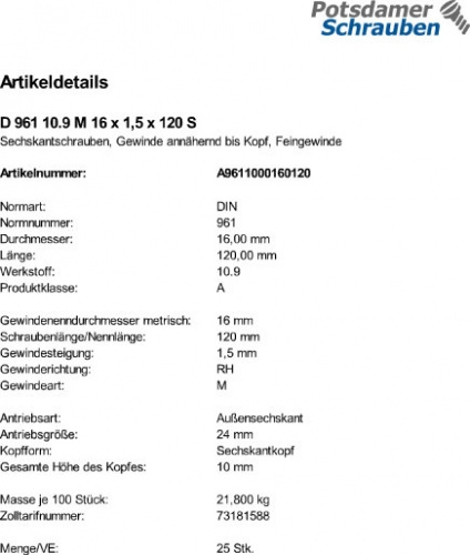 2 Stk DIN 961 Sechskantschraube M20x1,5x100 Feingewinde ann/ähernd bis Kopf Stahl