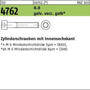 50x DIN 912 Zylinderschraube Innensechskant M 6 x 75 8.8 galv verzinkt gelb c