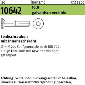 200 Inbus Senkkopfschrauben ISO 10642 10.9 schwarz M8x12