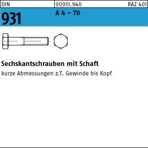 1 Edelstahl V4A Sechskantschrauben DIN 931 A4-70 M12x160